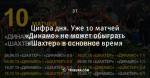 Цифра дня. Уже 10 матчей «Динамо» не может обыграть «Шахтер» в основное время